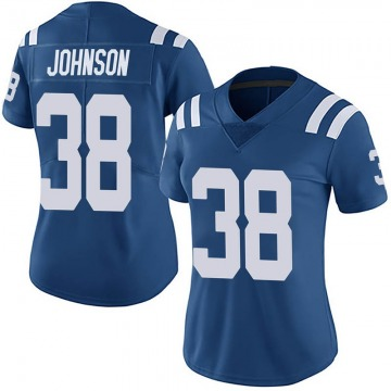 Women's Isaiah Johnson Indianapolis Colts Limited Royal Team Color Vapor Untouchable Jersey